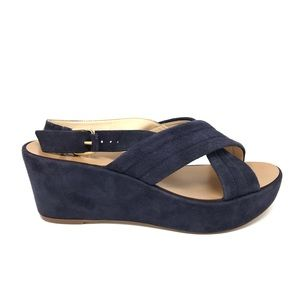 J. Crew Sz 7.5 Marcie Wedge Cross Strap Sandals